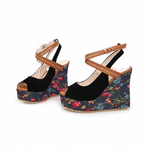Assorted Pattern Buckle Black Shoes Peep Fashion Carol Wedges Floral Womens Sandals Colors Toe High Heel wX4Ip8q