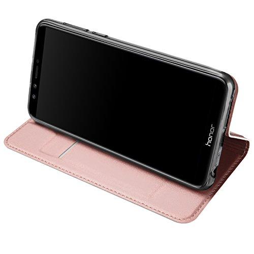 Huawei Honor 9 Lite Funda, OFU® aspecto delgado caso,PU cuero cartera caso de visualización,cierre magnético,TPU parachoques - Huawei Honor 9 Lite cuero flip cartera-negro oro rosa
