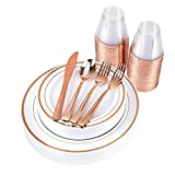 Rose Gold Disposable Dinnerware Set (175 Piece) Heavy Duty Plastic Plates, 9 Oz Cups, Silverware & Napkins: 25 Dinner Plates, 25 Salad Plates, 25 Cups, 50 Forks, 25 Spoons & 25 Knives (Rose Gold Rim)