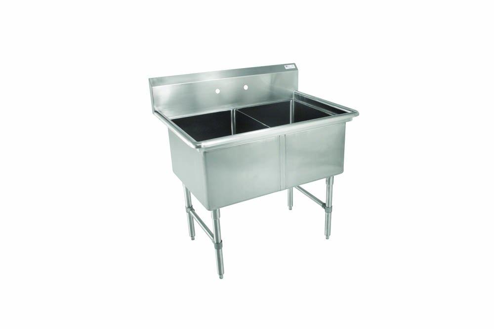John Boos 2B244 B Series 2 Compartment Stainless Steel Sink, No Drain Board, 24'' x 24'' x 14'' Bowl