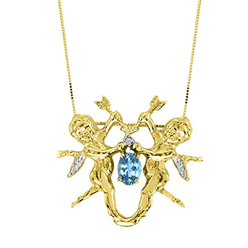 Blue Topaz & Diamond Pendant Necklace Yellow Gold Plated Silver Angels