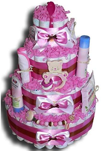 WindeltortenZauber – Kitty XXL luiertaart voor meisjes, babycadeau, babyshower, babyshower, doop, geboorte, souvenirs