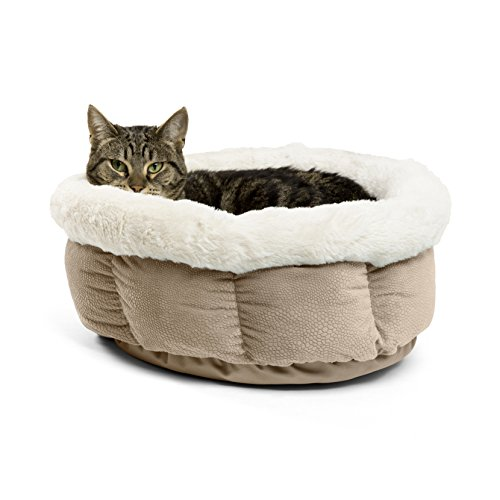 Best Friends by Sheri Small Cuddle Cup – Cozy, Comfortable Cat and Dog House Bed – High-Walls for Improved Sleep, Wheat