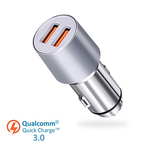 Youtec Car Charger, Dual Port 36W USB Fast Car Charger Adapter, QC 3.0 Metal Car Charger Compatible with iPhone XS/Max/XR/X/8/8 Plus, Samsung Note9/Note8/ S9/S9+/S8/S7, iPad Pro/Air 2/ Mini and More