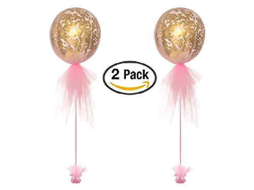 PREMIUM QUALITY Confetti Balloons 18 inch Prefilled with gold polka dot Perfect Party Decorations For Wedding Bachelorette Party Baby Shower 1st Birthday Graduation Latex Giant Round Helium Balloons