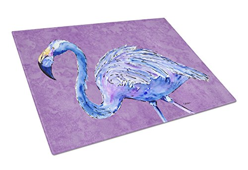Caroline's Treasures Flamingo on Purple Glass Cutting Board, Large, Multicolor