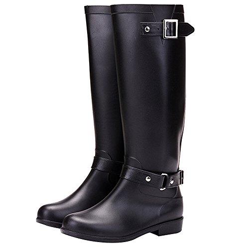 Bottes Chaud Femme Noir Wellington Haute De Hiver Neige Genou Rismart Imperméable Pluie WTpgw84qwx