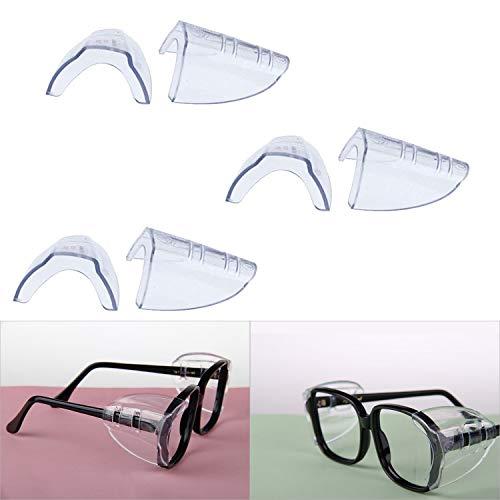 Hub's Gadget 3 Pairs Safety Eye Glasses Side Shields, Slip On Clear Side Shield for Safety Glasses- Fits Small to Medium Eyeglasses