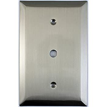 Jumbo Stamped Satin Nickel One Gang Cable TV Wall Plate