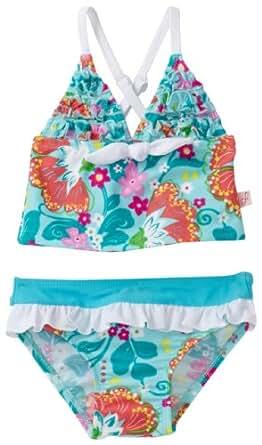 Floatimini Baby Girls' Tankini Floral Swimwear, Aqua, 12 18 Months