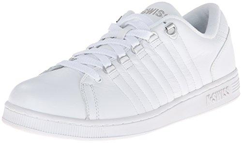 K-Swiss Women's Lozan III Leather Plain Toe Sneaker,White/White/Silver,6.5 M US