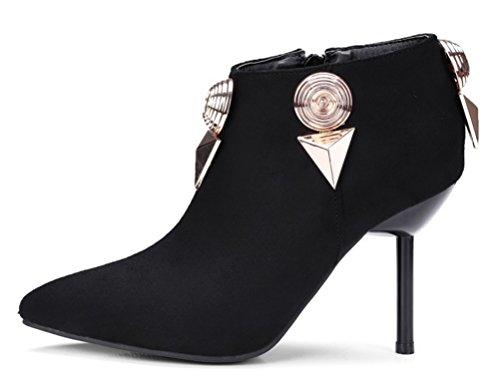 Easemax Damen Sexy Spitze Zehe Nubuk Metall Accessoire Low Ankle Pumps Stiefel Schwarz 35 EU wn2qVlc3P