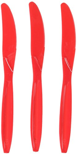 Apple Red Plastic Knives Big Party Pack, 100
