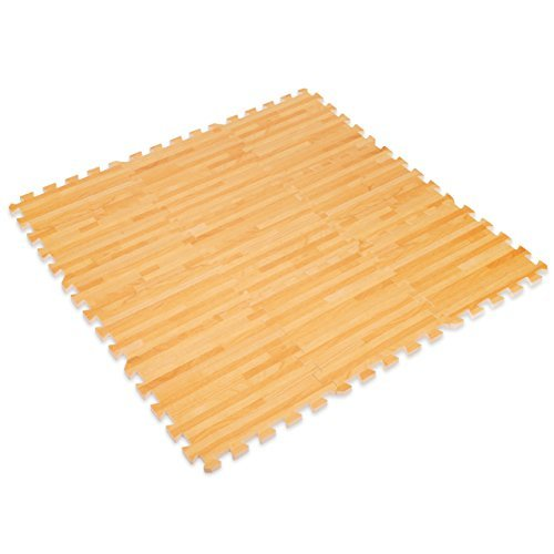Wood Effect Interlocking Foam Mats - Perfect for Floor Protection, Garage, Exercise, Yoga, Playroom. Eva foam (9 tiles, Natural Wood Brown)