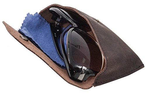 Gusti Pelle studio porta occhiali in pelle accessorio per occhiali da vista da sole unisex marrone antico 2A23-26-3
