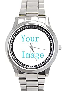 Custom Mens Stainless Steel Watch with Sliver Metal Band