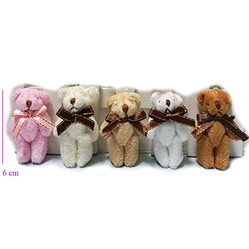 ZhinderLand Wholesale 6cm Plush Jointed mini Teddy Bear Package Of Assorted Bears (20 pcs)