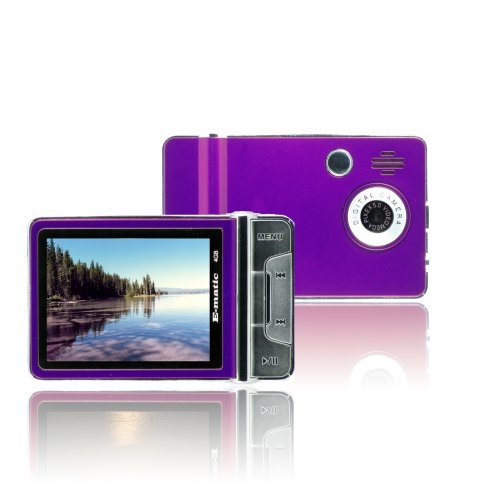 Ematic 2.4 Inches Color MP3 Video Player with Built-in 5MP Digital Camera and Video Recording, FM Radio, TV Out, Speaker 4 GB PURPLE