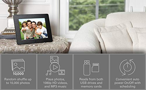 Micca 8-Inch Digital Photo Frame High Resolution LCD, MP3 Music 1080P HD Video Playback, Auto On/Off Timer (Model: N8, Replaces M808z) by Micca (Image #1)