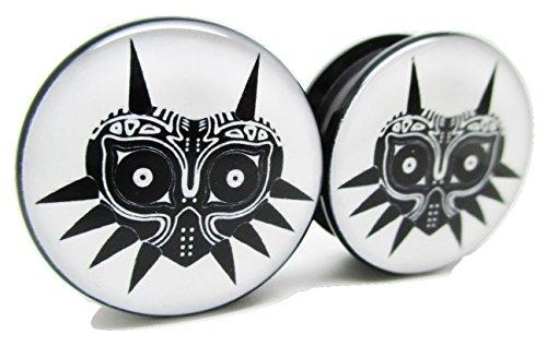 Pierced Republic Zelda Majora's Mask Ear Plugs - Acrylic - Screw on - NEWPair (0 Gauge (8mm)) (Triforce Piercing)