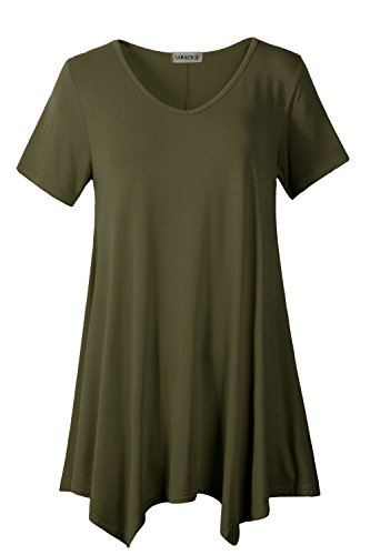 LARACE Women Casual T Shirt V-Neck Tunic Tops for Leggings(4X, Army Green) -
