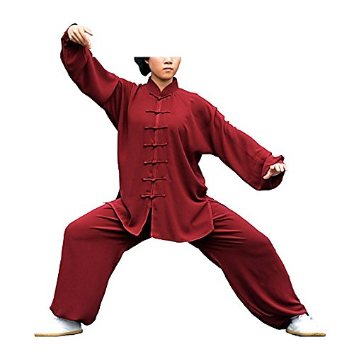 KIKIGOAL Unisex Chinese Traditional Martial Arts Tai Chi Uniform Kung Fu Clothing Wushu Suit For Men and Women (XL, wine red)