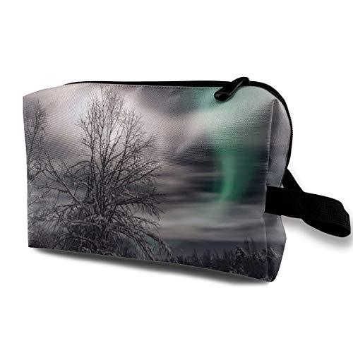 Aurora Snow Trees Cosmetic Bags Makeup Organizer Bag Pouch Zipper Purse Handbag Clutch Bag -