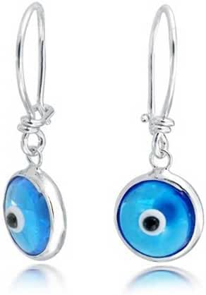 Bling Jewelry Evil Eye Blue Dangle Earrings 925 Sterling Silver