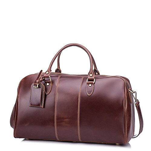 Leather Duffel Bag, Travel Overnight Gym Sports Weekender Tote Bags Brown by Kissloves