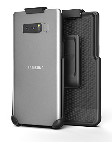 Galaxy Note 8 Belt Clip Holster, Secure-fit Case Free Design (Companion Series by Encased) (Smooth Black)
