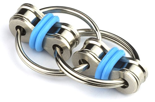 Tom's Fidgets Flippy Chain Fidget Toy Perfect for ADHD, Anxiety, and Autism - Bike Chain Fidget Stress Reducer for Adults and Kids - Blue