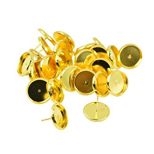 Flameer 24 Pieces Round Earrings Blank Bezel Setting For 12mm Cabochon - Gold, 12mm - Cabochon Gold Ring