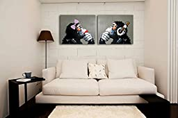 Muzagroo Art Listening Music Gorillas with Headphones Oil Paintings Hand Painted on Canvas Paintings for Living Room Wall Decor Stretched Ready to Hang M