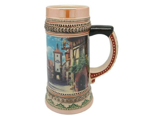 Ceramic Beer Stein German Rothenberg Village Scene (.475 Liter)