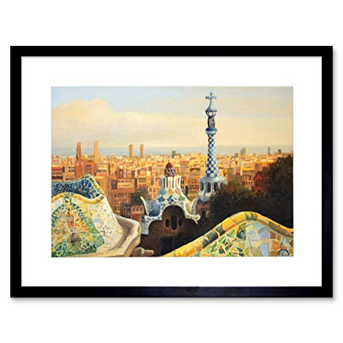 Park Guell Painting Barcelona Art Print Framed Poster Wall Decor 9x7 inch