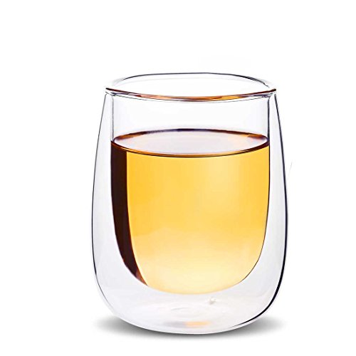 (Lead-free Double Walled Borosilicate Crystal Clear Glass Mug, 7oz Coffee Cup ,Mug for Ice Coffee Espresso,Creative Wine Glass, Double Wall Insulated Glassware, 7oz)