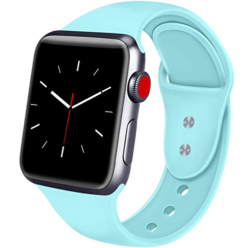 ATUP Sport Band Compatible with Apple Watch 38mm 40mm 42mm 44mm Women Men, Soft Silicone Replacement Bands for iWatch Apple Watch Series 4, Series 3, Series 2, Series 1 (Light Blue, 38mm/40mm-M/L)