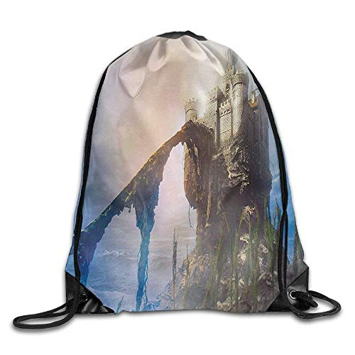 (AoshangGardeflag Inspirational Ancient Fantastic Castle On The Hill Royal Stories Of Middle Age Mist Bags Rowing Backpack Color -)