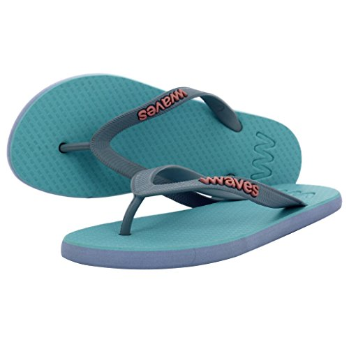 Waves 100% Natural Rubber Flip Flops for Women Slim Fit Sandals Slippers - Twofolds Collection - Bubble Coral