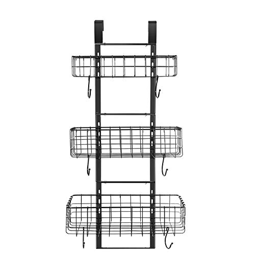 Detachable 3-Basket Over The Door Organizer, Heavy Duty Iron Hanging Shelf Door Back Storage Organizer Rack for Kitchen, Bathroom(Black).