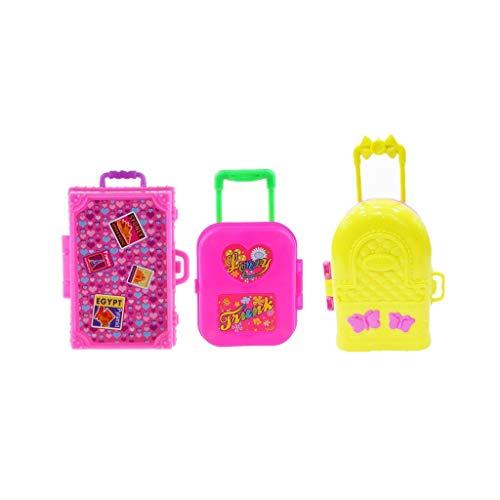 3 Pieces Cute Miniature Travel Case Box Mini Plastic Luggage Box Suit for Barbie Doll Decoration Accessory