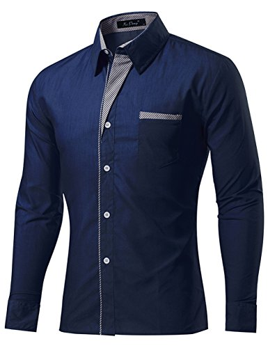 XI PENG Men's Casual Button Down Long Sleeve Striped-Trim Slim Fit Collared Dress Shirts (X-Large, Navy Blue) by XI PENG (Image #1)