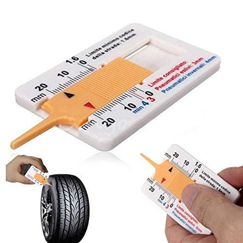 laonBonnie Measure Tool caravanas Accesorios para Coche Moto Medidor de Profundidad de Perfil de neum/áticos para Coche Color Blanco y Amarillo Remolque Rueda tr/áiler
