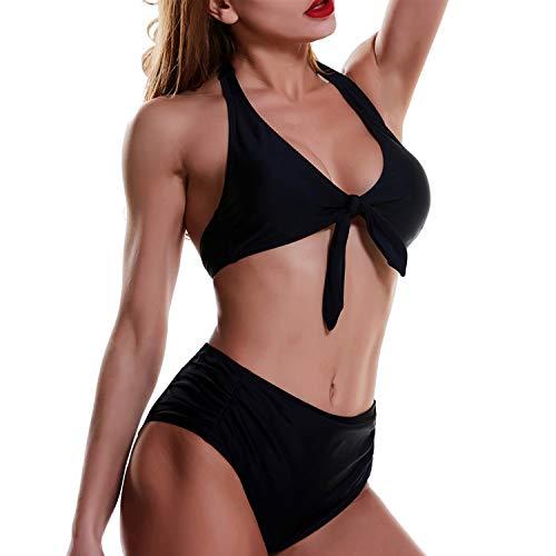 (Womens Tie Knot Front Push Up Brazilian Swimsuit High Waisted Bikini Bottoms Halter V Neck Bathing Suits 2PCS Plus Size Bikini Sets)