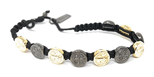 Saint Medal Charm Bracelet - My Saint My Hero Handwoven Blessing Bracelet with Benedictine Metal Charms (Jet Black and Gold Plated Medals on Black)