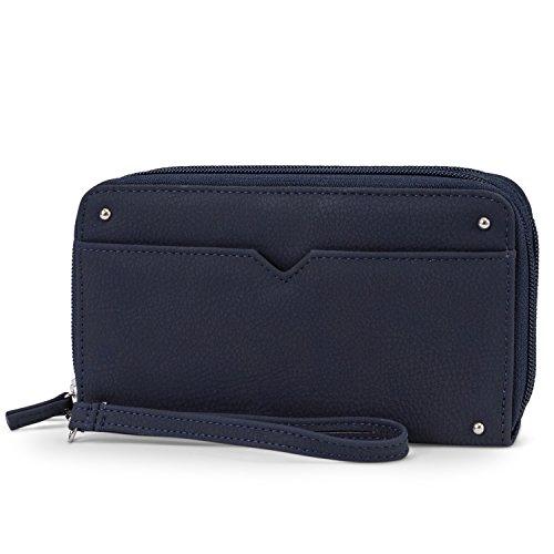 Mundi Double Zip Vegan Leather Womens RFID Clutch Wallet With Wristlet Strap (Navy) by Mundi (Image #4)