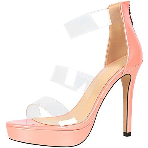 Plataforma Stiletto Mujer Boda Sandalias Charol Peep Toe Tacones altos Zapatos De BIGTREE Rosa