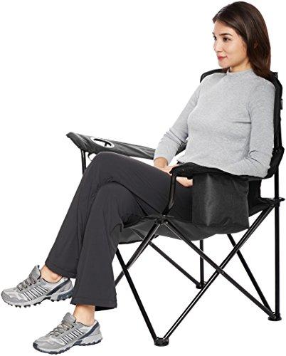 AmazonBasics Chaise de camping avec poche isotherme Noir (Rembourré, XL)