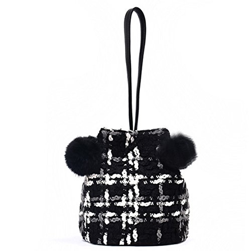 Body Button Magnetic Bag Bag Cross Bucket Fur Ball Women Bag Black Shoulder wqXUTAzxfn