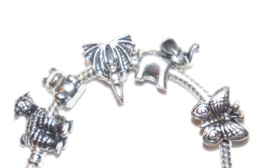 Pack of 5 Animals Sheep Bat Elephant Butterfly Frog Spacer Charm Beads Compatible With Pandora Style Bracelets